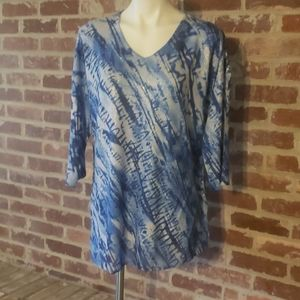 Blue, white and silver blouse. Worn once.